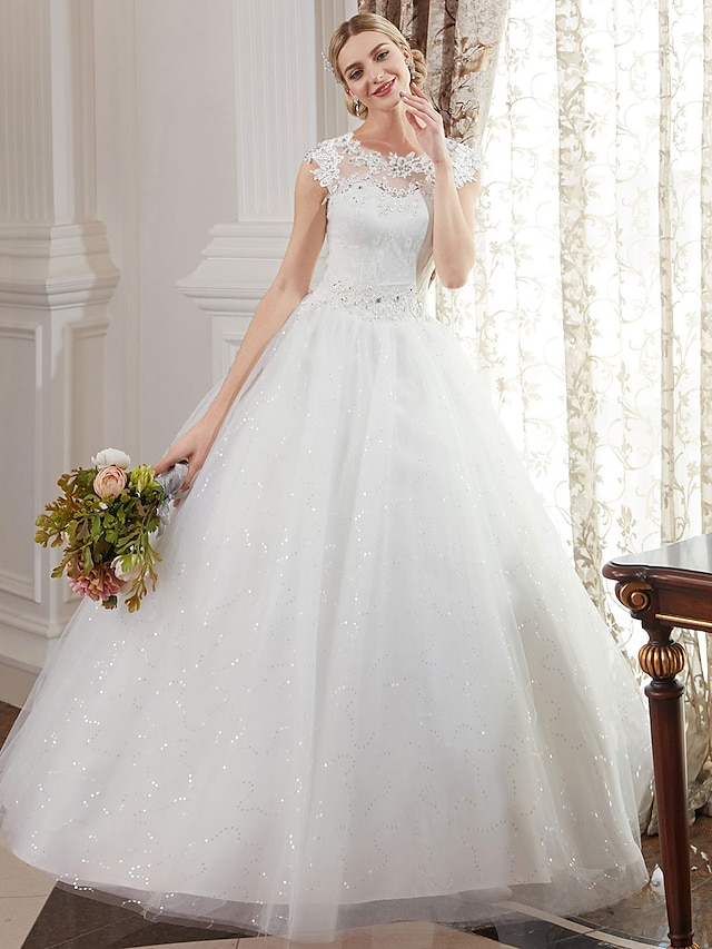 Ball Gown Wedding Dresses Jewel Neck Floor Length Lace Over Tulle Cap Sleeve Romantic Illusion Detail with Beading Appliques 2021