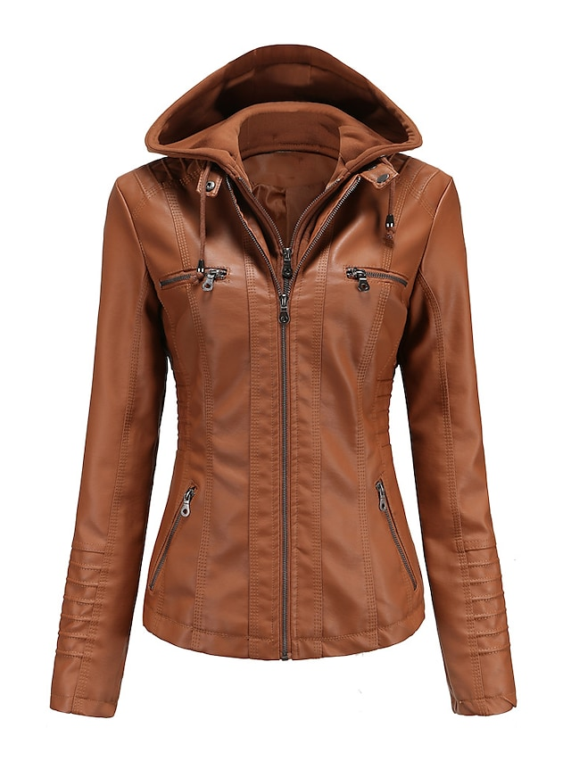 Women's Jacket Hooded Faux Leather Jacket Street Fall Winter Short Coat Regular Fit Warm Basic Casual Jacket Long Sleeve Solid Colored Pocket Camel Black Spring