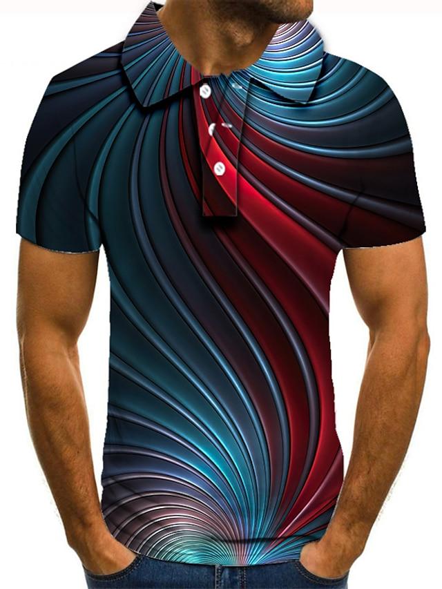 Herren Golfhemd Tennishemd 3D-Druck Geometrie Button-Down Kurzarm Strasse Oberteile Freizeit Modisch Cool Blau / Sport