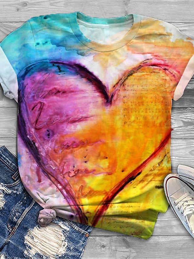 Women's Plus Size Tops T shirt Graphic Heart Print Short Sleeve Crewneck Basic Blue Big Size XL XXL 3XL 4XL 5XL / Holiday