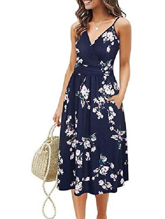 gootuch women's v neck dresses adjustable spaghetti strap floral casual beach party swing dress with pockets(floral 02,l)