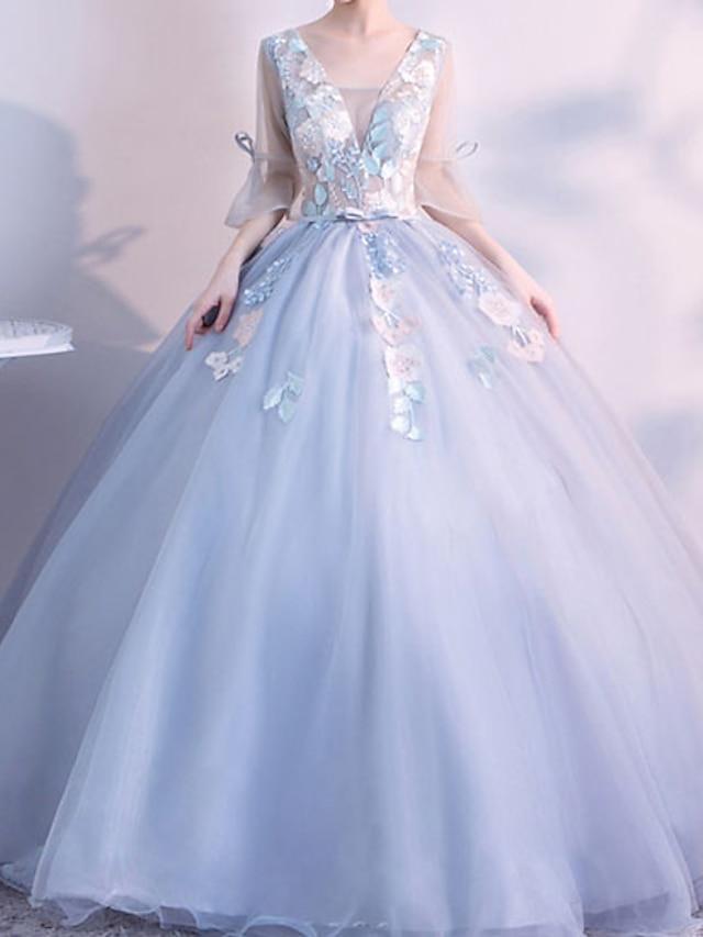 Balkjole Elegant Blomster Quinceanera Skolebal Kjole V-hals 3/4-ærmer Gulvlang Tyl med Broderi 2021