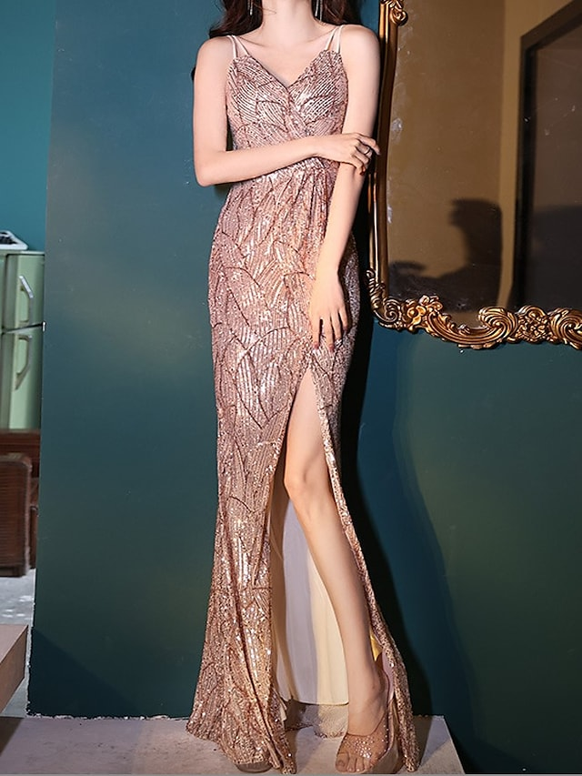A-Line Sparkle Sexy Wedding Guest Formal Evening Dress Spaghetti Strap Sleeveless Floor Length Sequined with Sequin Split 2021