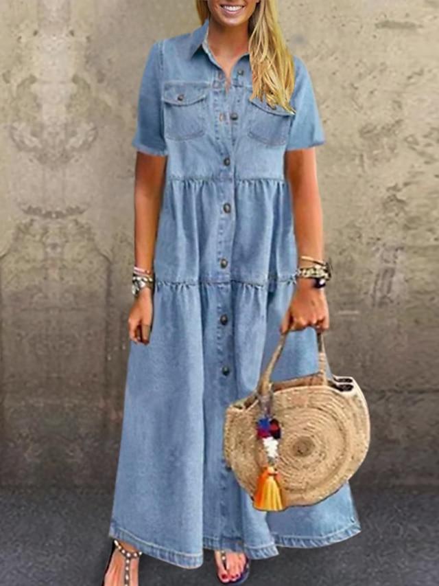 Women's Plus Size Dress Denim Shirt Dress Maxi long Dress Short Sleeve Patchwork Casual Summer Sky Blue Dark Blue XL XXL 3XL 4XL 5XL