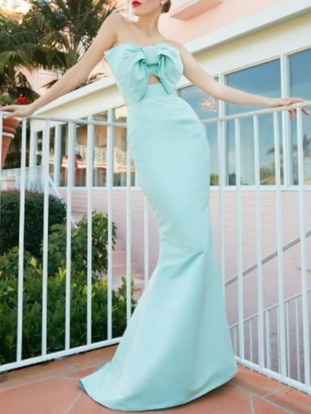 Mermaid / Trumpet Beautiful Back Sexy Engagement Formal Evening Dress Strapless Sleeveless Floor Length Satin with Bow(s) 2021