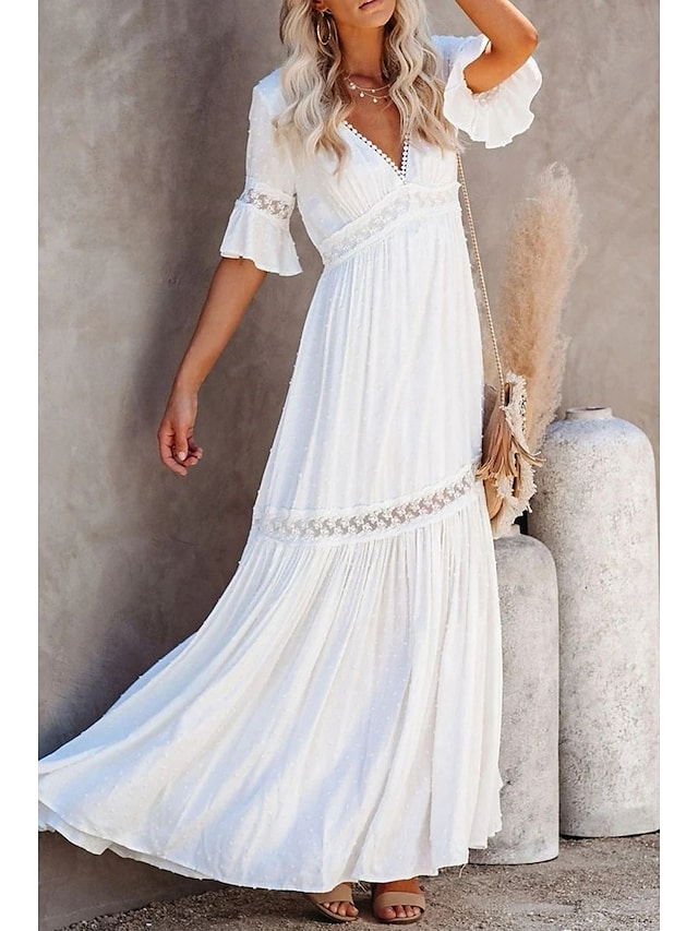 Women's Swing Dress Maxi long Dress Half Sleeve Solid Color Spring Summer V Neck Elegant & Luxurious 2021 S M L XL XXL