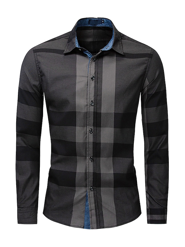 Camisa básica con botones de bloque de color de celosía para hombre litb, tops de negocios de manga larga, tops de algodón pesado, ropa formal de oficina, todos los días