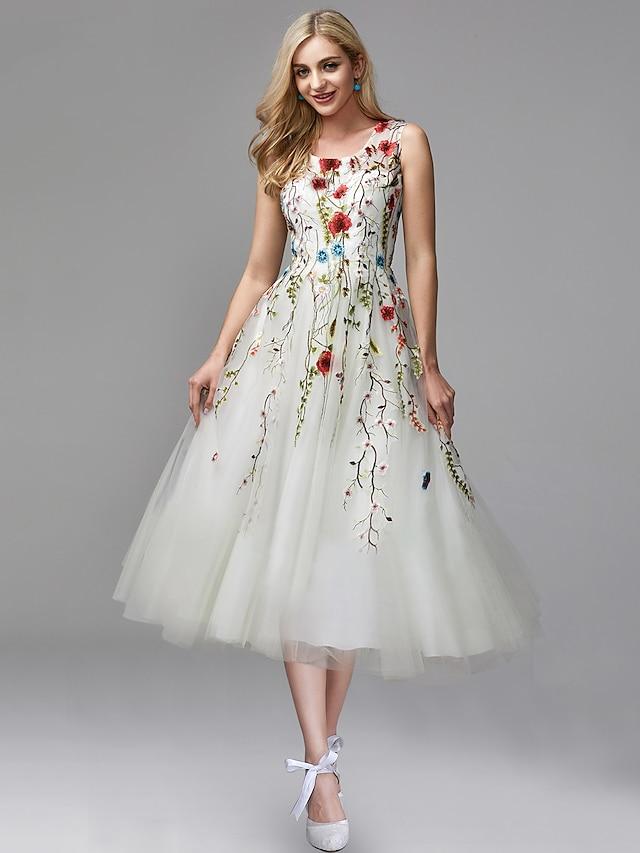 Corte A Elegante Floral Pedida Noche formal Vestido Joya Sin Mangas Vestido Midi Gasa Encaje con Detalles de encaje Apliques 2021