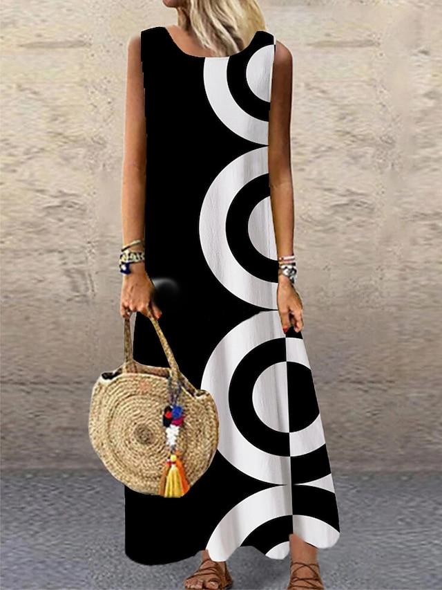 Women's Shift Dress Maxi long Dress Black Sleeveless Print Geometric Print Spring Summer Round Neck Casual Holiday 2021 S M L XL XXL 3XL
