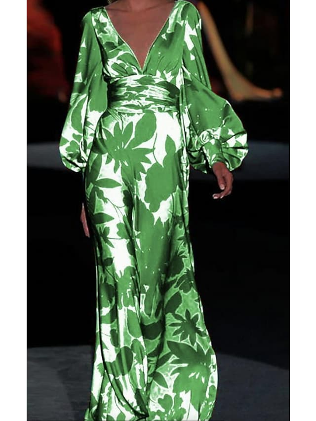 Women's Sheath Dress Maxi long Dress Green Long Sleeve Print Print Spring Summer V Neck Casual Puff Sleeve 2021 S M L XL
