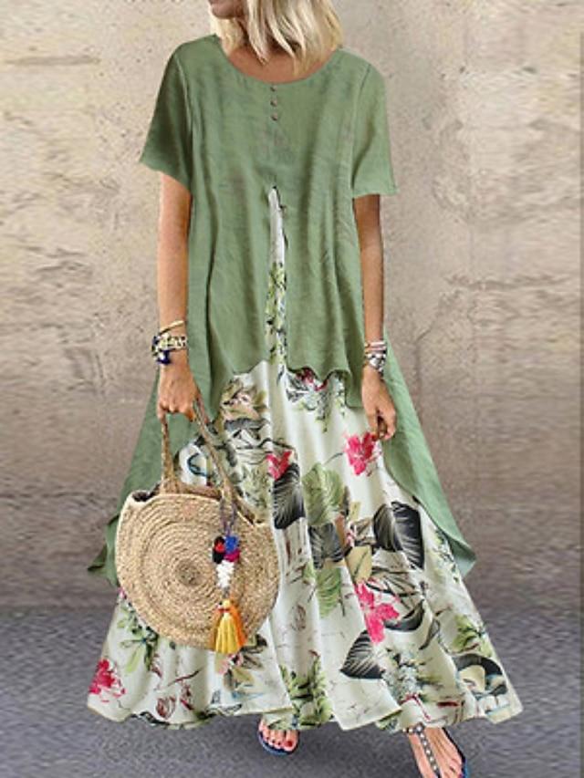 Γυναικεία Φόρεμα ριχτό από τη μέση και κάτω Μακρύ φόρεμα Βυσσινί Κίτρινο Ροζ Πράσινο του τριφυλλιού Πορτοκαλί Κοντομάνικο Φλοράλ Πολυεπίπεδο Κουρελού Κουμπί Άνοιξη Καλοκαίρι Στρογγυλή Λαιμόκοψη