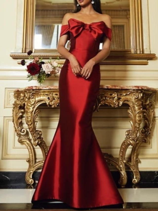Trompette / Sirène Jolis Dos Rétro Vintage Invité de mariage robe ceremonie Robe Sans Bretelles Sans Manches Longueur Sol Satin avec Lisse Noeud(s) 2021