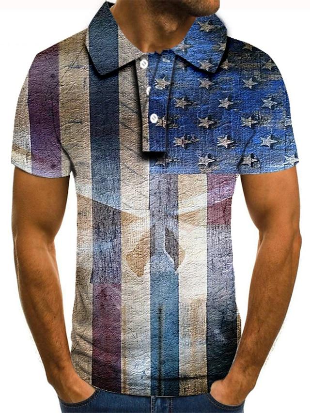 Men's Golf Shirt Tennis Shirt 3D Print Graphic Prints American Flag Button-Down Short Sleeve Street Tops Casual Fashion Cool Blue / Sports