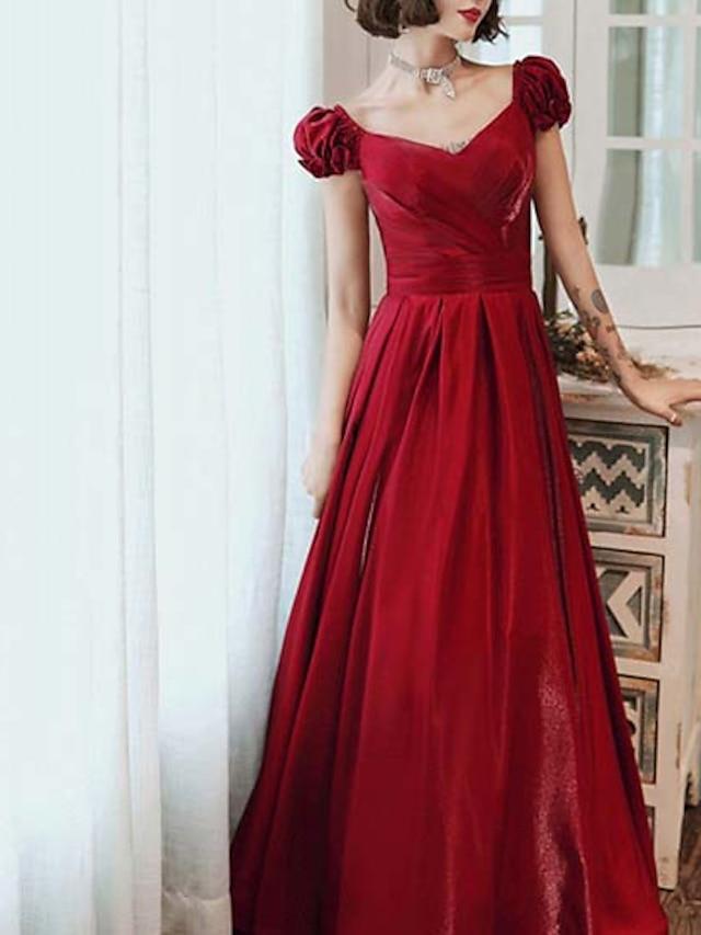 A-Line Elegant Vintage Wedding Guest Formal Evening Dress V Neck Short Sleeve Floor Length Satin with Sleek 2021
