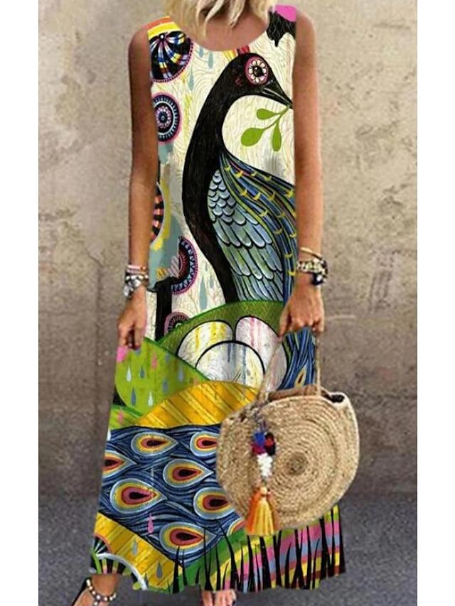 Pentru femei Rochie de schimb Rochie Maxi lungă Fără manșon Tipar Primăvară Vară Casul / Zilnic 2021 S M L XL XXL