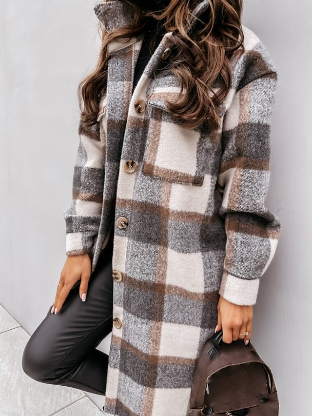 Women's Trench Coat Holiday Fall Winter Long Coat Regular Fit Warm Casual Streetwear Jacket Long Sleeve Plaid Patchwork Gray Khaki Spring Lined Going out