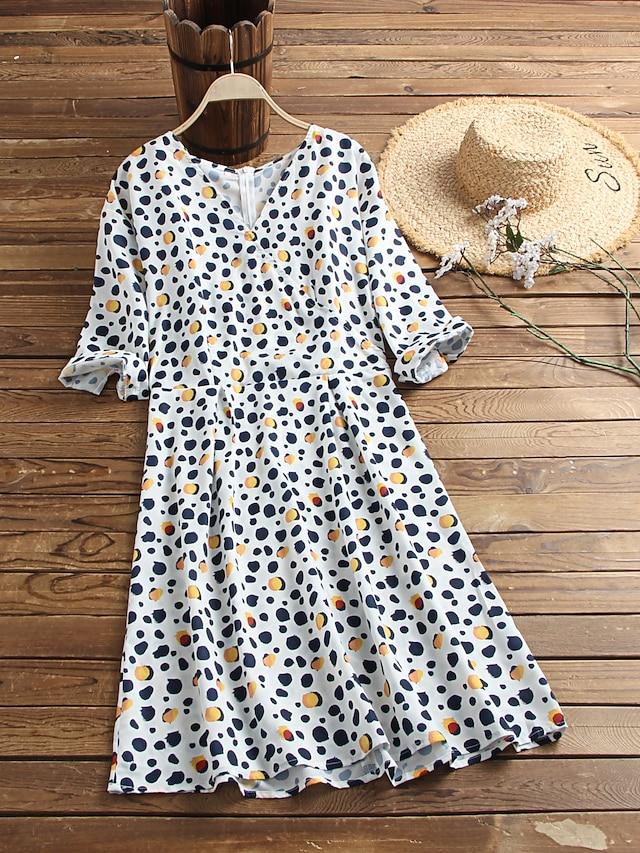 Women's Long Sleeve Polka Dot Leopard Graphic Prints Wrap Dress