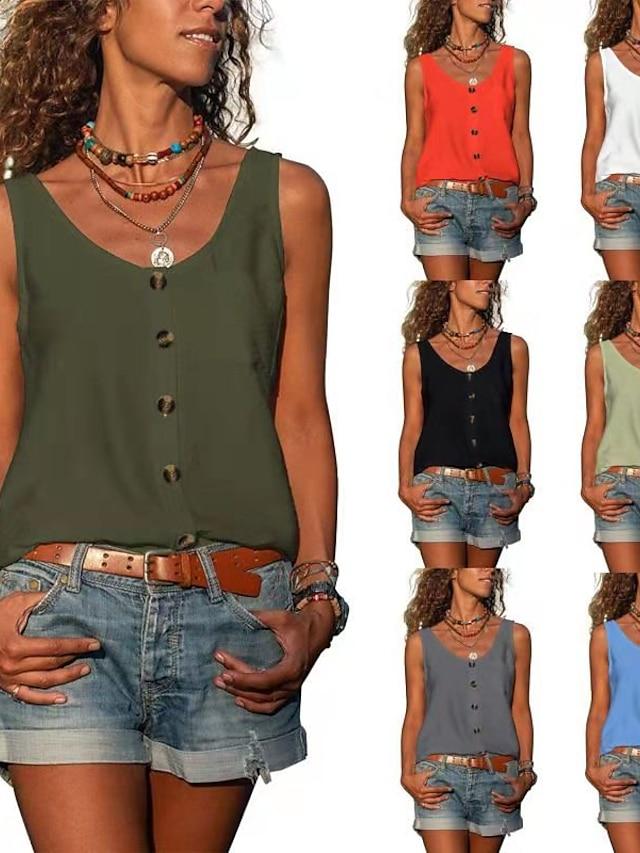 Women's V-Neck Hem Tank Solid Color Top Basic Vest Summer Daily Shirts