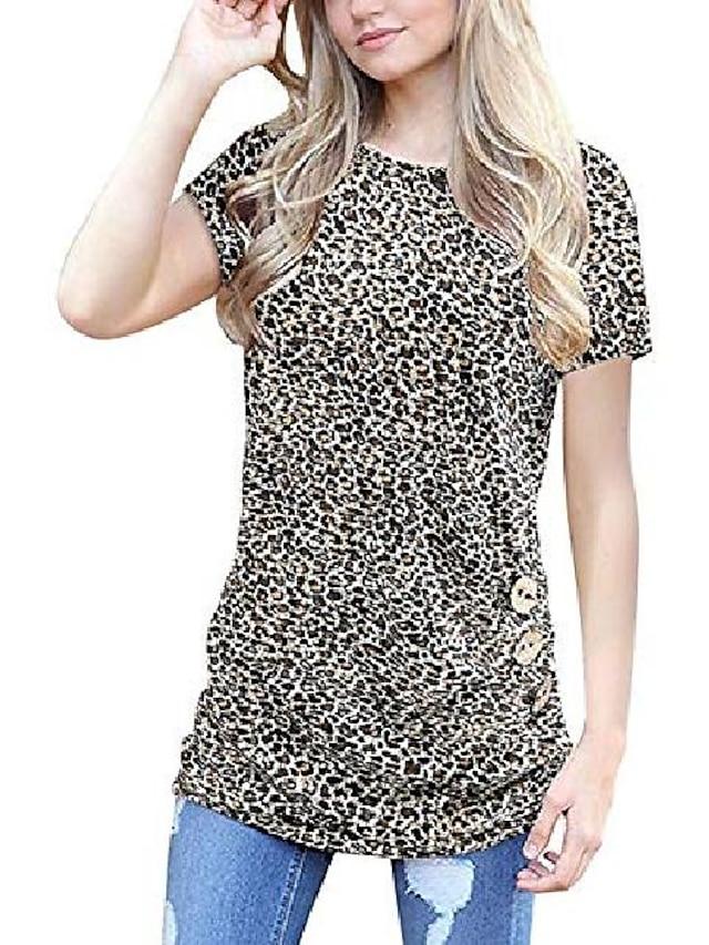 camicetta t-shirt a tunica allentata con scollo tondo manica corta casual da donna unidear con 3 bottoni leopardato giallo piccolo