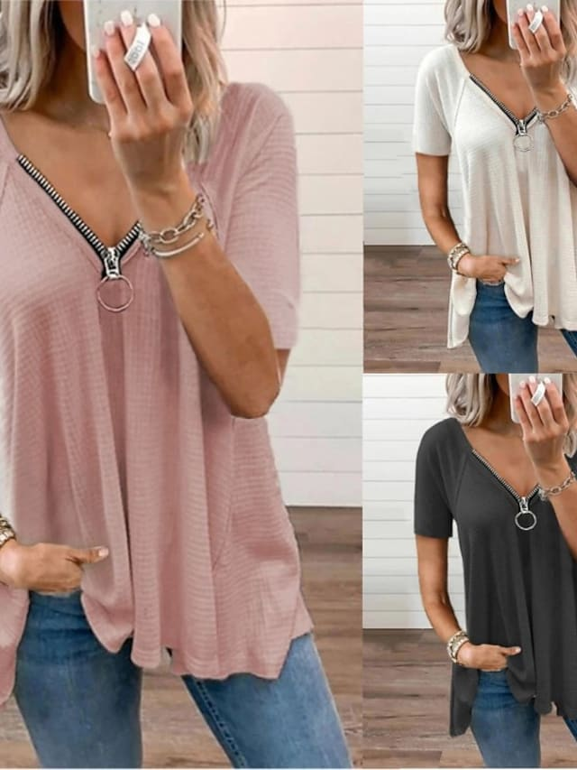 Women's T shirt Plain Short Sleeve V Neck Basic Casual Daily Tops Blushing Pink Gray White / Wash with similar colours / Micro-elastic