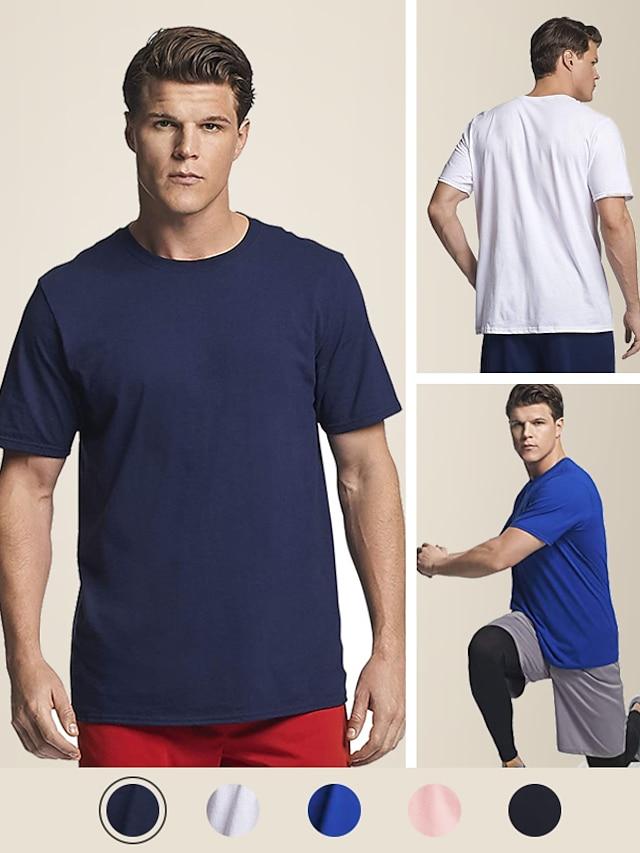 Litb camiseta básica de color sólido para hombre, 100% algodón, suave y cómoda, camiseta clásica, camiseta simple de verano para hombre