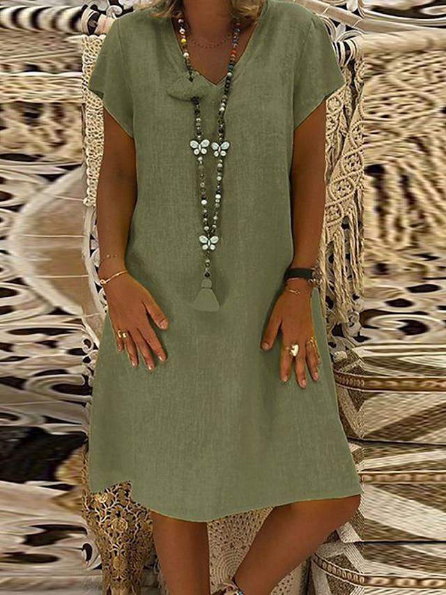 Dam Skiftklänning Knälång klänning Gul Armégrön Kaki Kortärmad Ensfärgat Vår Sommar V-hals Grundläggande Ledigt Ledig 2021 M L XL XXL 3XL 4XL 5XL
