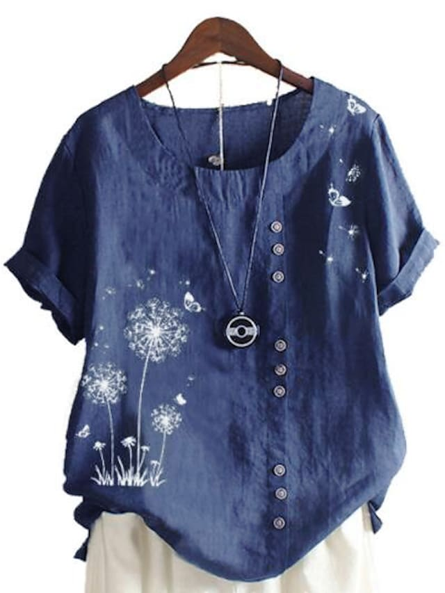 Women's Plus Size Tops Blouse Shirt Floral Graphic Dandelion Cotton Linen Short Sleeve Round Neck Casual Spring Summer Blue Green Pink Big Size L XL 2XL 3XL 4XL