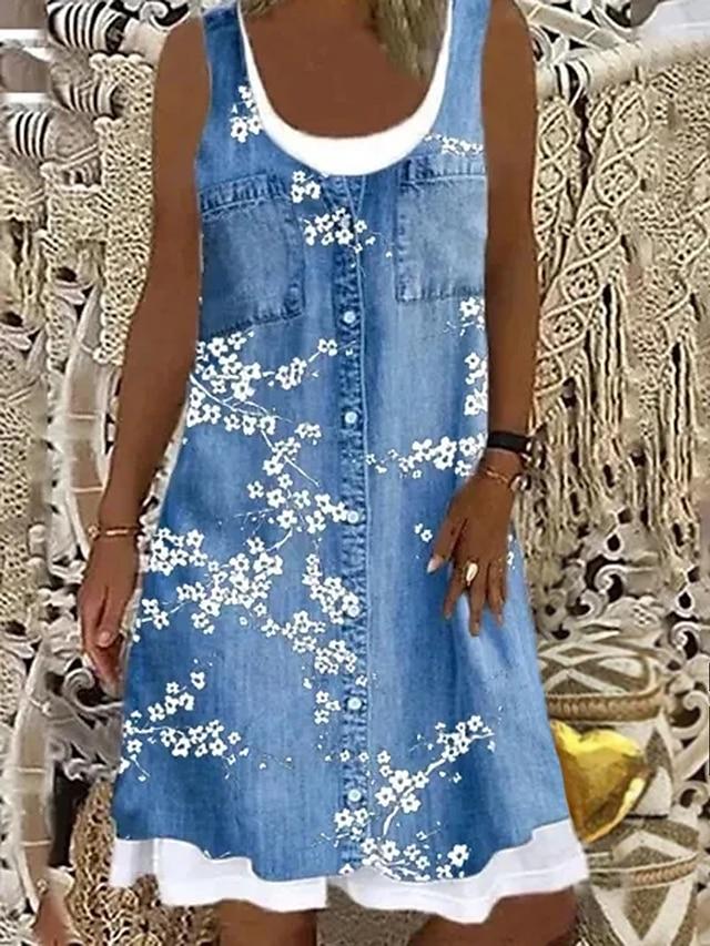 Women's Shift Dress Knee Length Dress Blue Gray Brown Light Blue Sleeveless Floral Fake two piece Print Spring Summer Boat Neck Casual Modern Loose 2021 S M L XL XXL 3XL 4XL