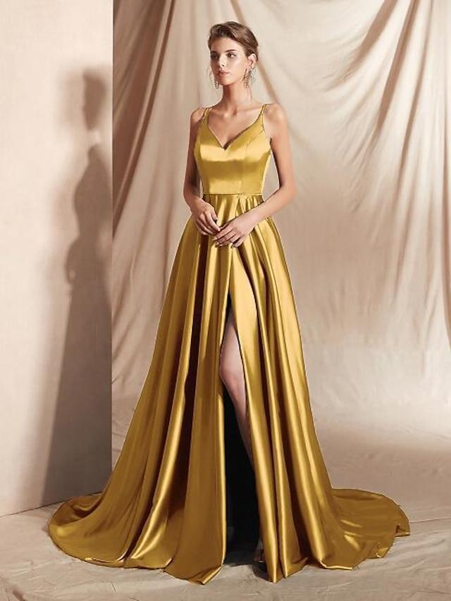 Trapèze Minimaliste Sexy Invité de mariage robe ceremonie Robe Col en V Sans Manches Traîne Tribunal Satin avec Lisse Fendue 2021