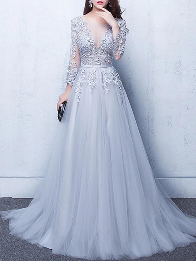 Linea-A Lussuoso Florale Fidanzamento Serata formale Vestito Scollo a Illusione Mezza manica Strascico da cappella Tulle con Perline Con applique 2021