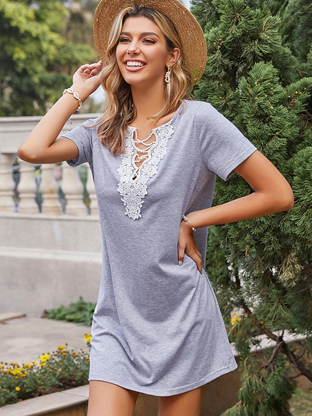 LITB Basic Women's Lace Up Neck T-Shirt Dress Knee Length Dress Solid Color