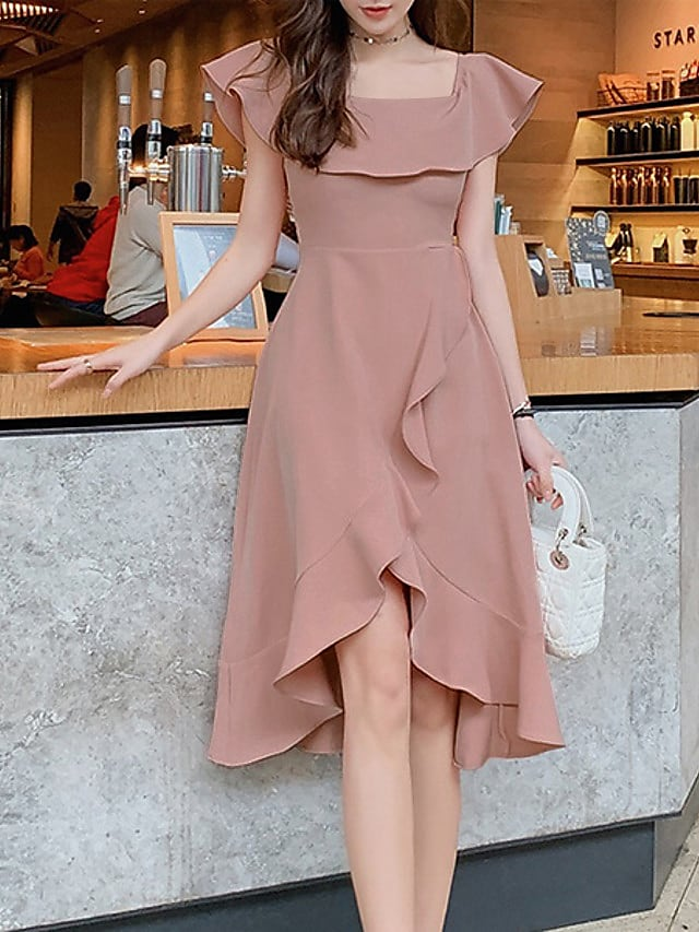 A-Line Maxi Elegant Holiday Cocktail Party Dress Off Shoulder Short Sleeve Asymmetrical Satin with Ruffles 2021
