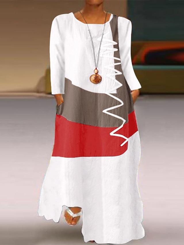 vestito da donna plus size vestito altalena maxi vestito lungo manica lunga grafico color block tasca casual primavera estate taglia grande xl xxl 3xl 4xl