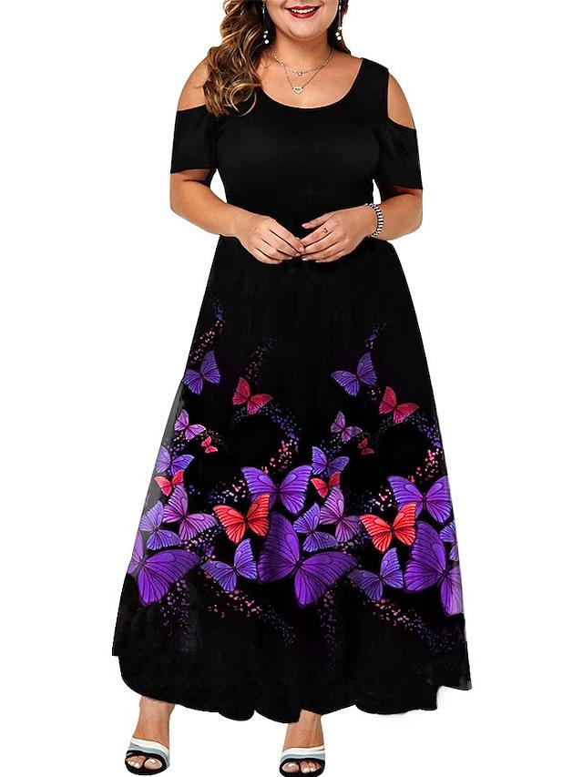 Damen Übergröße Kleid Schaukelkleid Maxikleid Kurzarm Schmetterling Tier Druck Elegant Frühling Sommer Purpur L XL XXL 3XL 4XL / Übergrössen