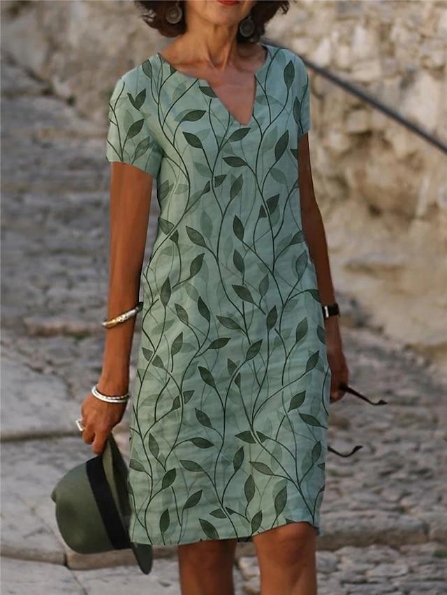 Γυναικεία Φόρεμα ριχτό Φόρεμα μέχρι το γόνατο Πράσινο του τριφυλλιού Κοντομάνικο Στάμπα Στάμπα Άνοιξη Καλοκαίρι Λαιμόκοψη V Καθημερινά 2021 Τ M L XL XXL XXXL / Φαρδιά