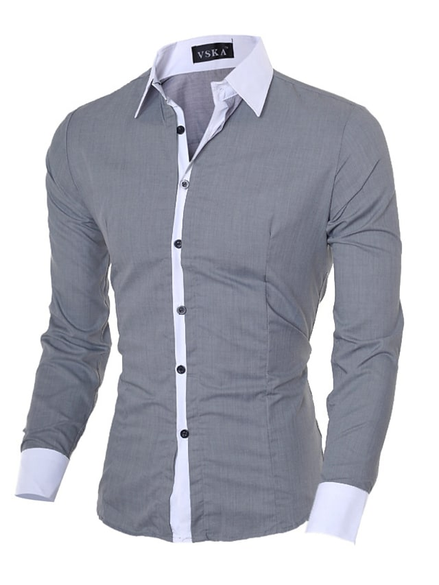 Men's Shirt Solid Colored Long Sleeve Office / Career Slim Tops Business Casual Classic Collar Blue Pink Gray / Fall / Spring / Work