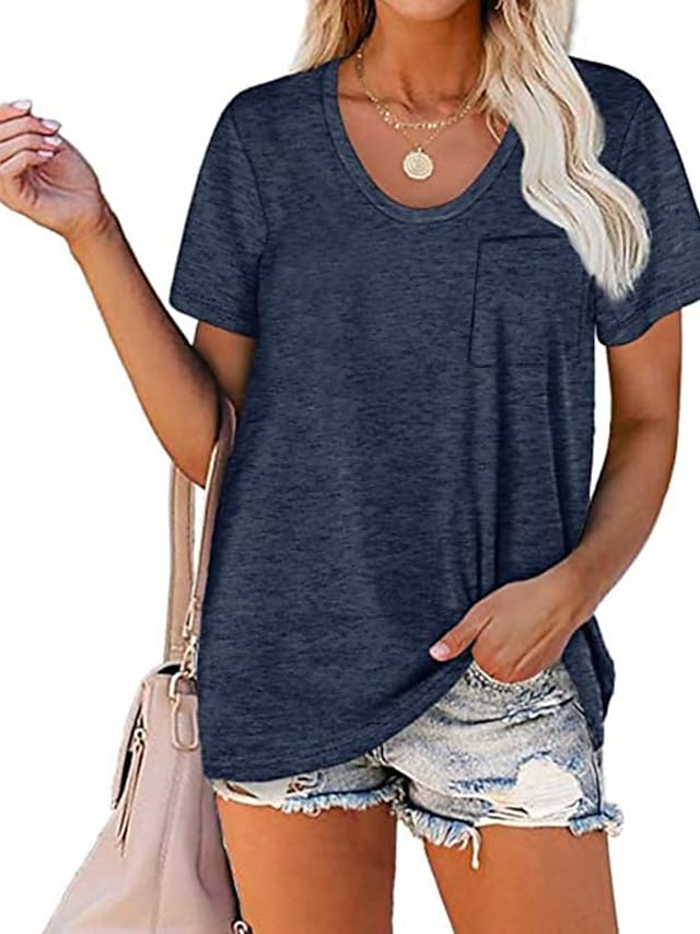 Women's Pocket T-Shirt Solid Color Tee Round Neck Blouse Summer Short Sleeve Basic Top
