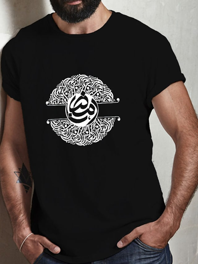 Men's Unisex Tee T shirt Hot Stamping Symbol Graphic Prints Plus Size Print Short Sleeve Casual Tops Cotton Basic Fashion Designer Big and Tall Black