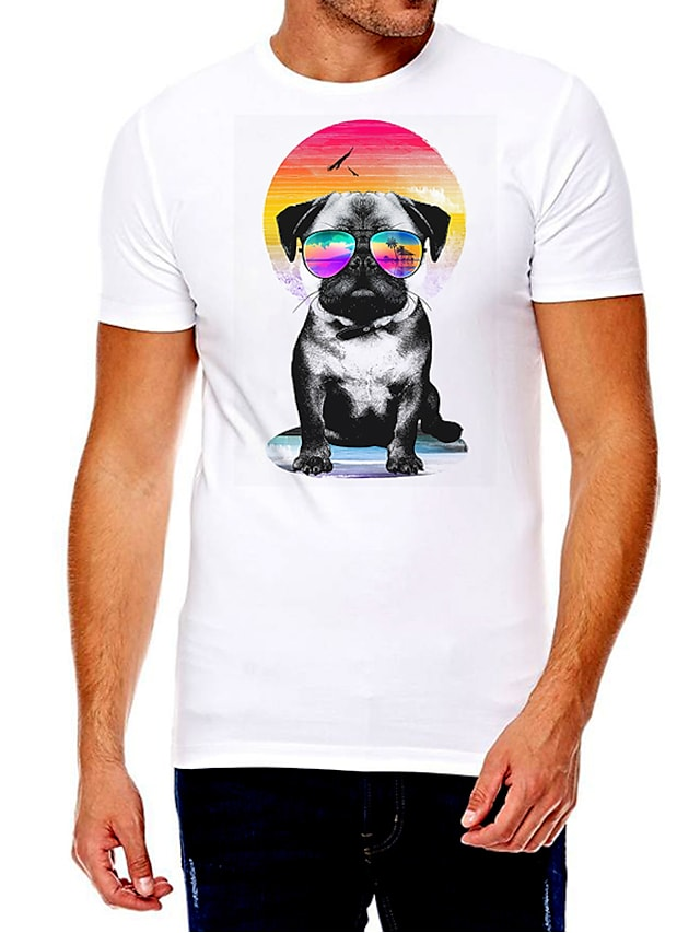Men's Unisex Tee T shirt Hot Stamping Dog Graphic Prints Animal Plus Size Print Short Sleeve Casual Tops Cotton Basic Fashion Designer Big and Tall White