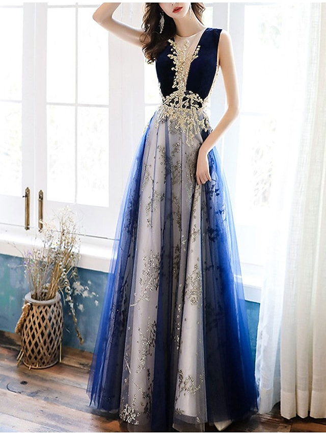 A-Line Color Block Elegant Wedding Guest Formal Evening Dress Illusion Neck Sleeveless Floor Length Tulle with Appliques 2021