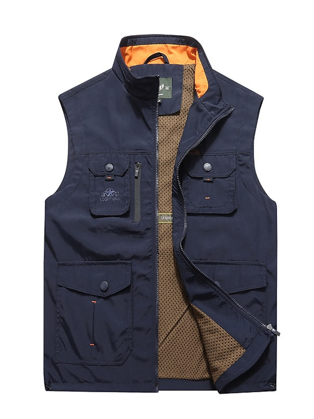 Men's Vest Gilet Street Daily Going out Fall Spring Regular Coat Regular Fit Windproof Breathable Sporty Casual Streetwear Jacket Sleeveless Solid Color Full Zip Pocket Army Green Khaki Navy Blue