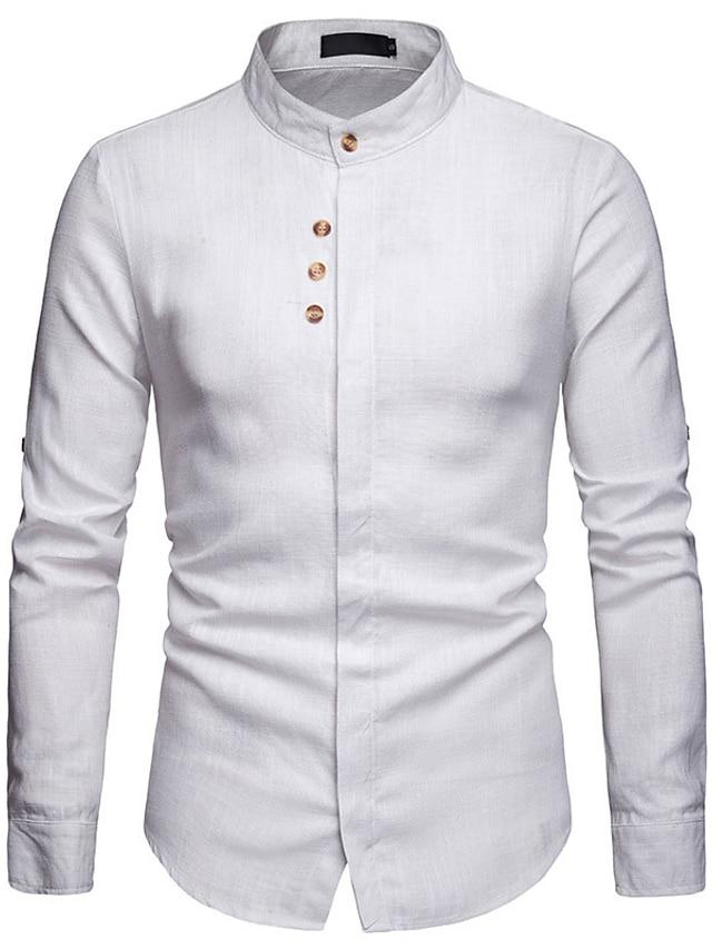 LITB Basic Men's Pocket Shirt Basic Tee Casual Wear Daily Long Sleeve