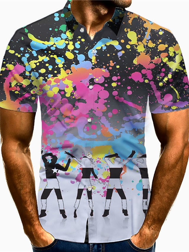Men's Shirt 3D Print Gradient Portrait Plus Size 3D Print Button-Down Short Sleeve Casual Tops Casual Fashion Breathable Comfortable Black / Sports