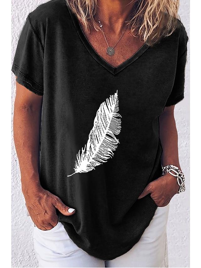 女性用 Tシャツ カートゥン プリント Vネック トップの ルーズ ホワイト ルビーレッド ブラック