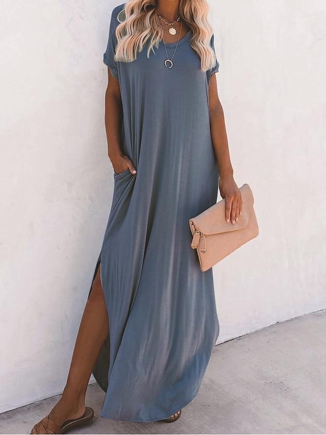 Women's Swing Dress Maxi long Dress Flesh pink Blue Dark Green Short Sleeve Solid Color Split Pocket Spring Summer Round Neck Casual Sports Holiday Loose 2021 S M L