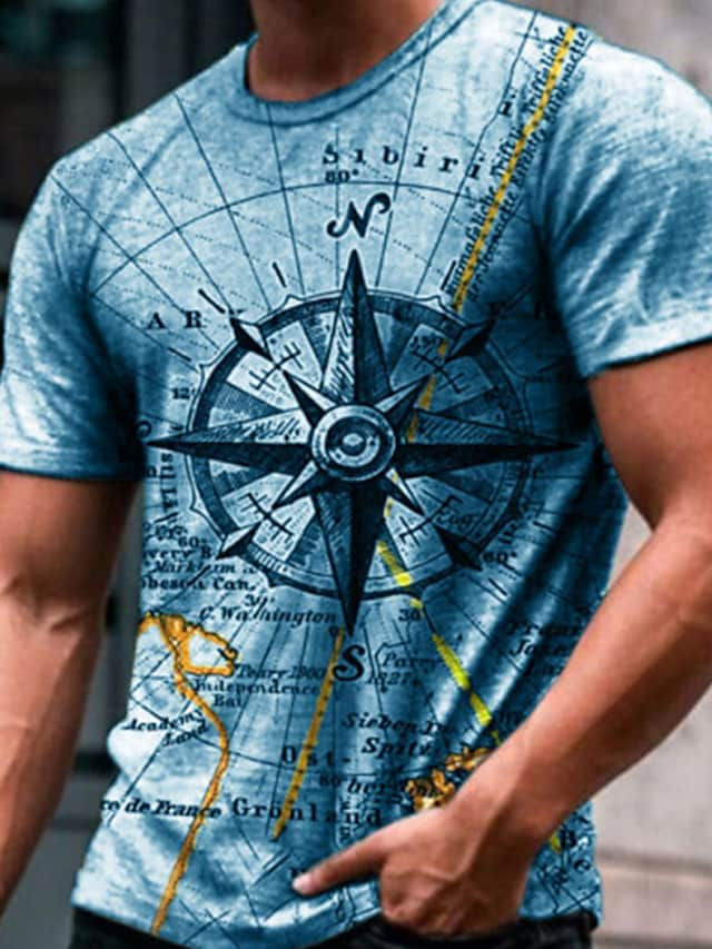 Men's Tee T shirt 3D Print Graphic Prints Compass Print Short Sleeve Daily Tops Casual Designer Big and Tall Round Neck Blue Gray Green / Summer