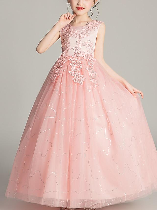 아동 작은 여아 드레스 꽃장식 생일 파티 제전 리본 화이트 푸른 블러슁 핑크 맥시 민소매 프린세스 단 드레스 어린이날 여름 보통 4 ~ 13 세