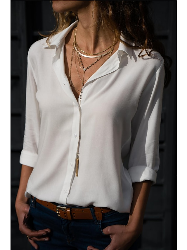 LITB Basic Women's Buttoned Shirts Leisure Blouse Solid Color Long Sleeve Business Wear