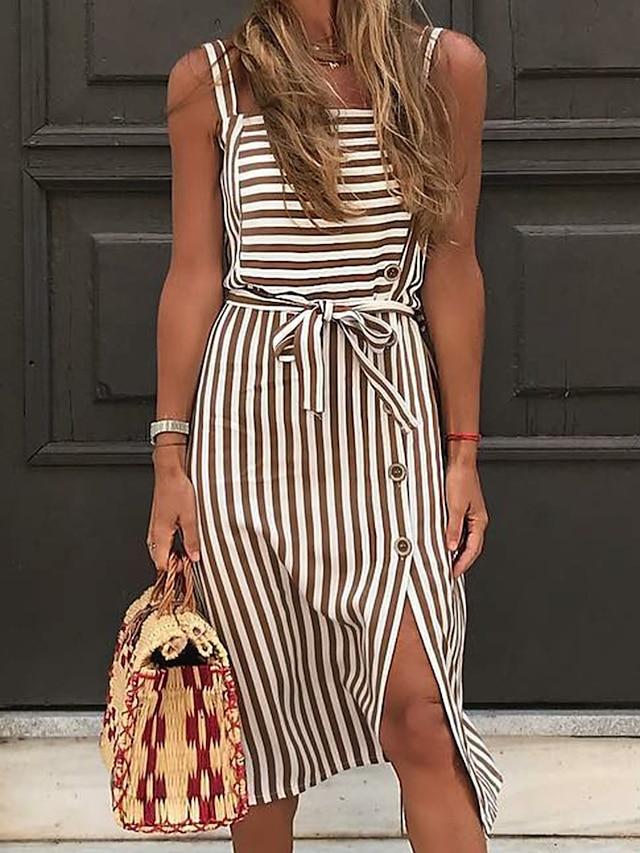 Women's Strap Dress Knee Length Dress Black Brown Sleeveless Stripes Spring Summer Casual 2021 S M L XL XXL