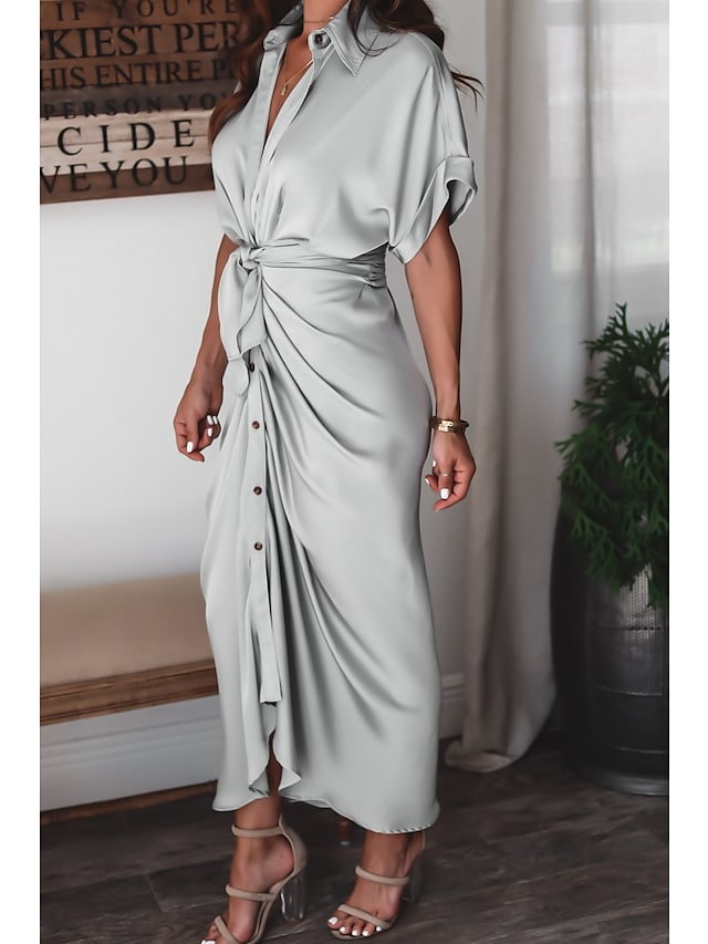 Women's A Line Dress Maxi long Dress Blushing Pink Champagne Green Light Grey Black Dark Blue Short Sleeve Solid Color Ruched Lace up Button Spring Summer Shirt Collar Elegant Casual Party Holiday